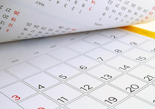 めくられたカレンダー